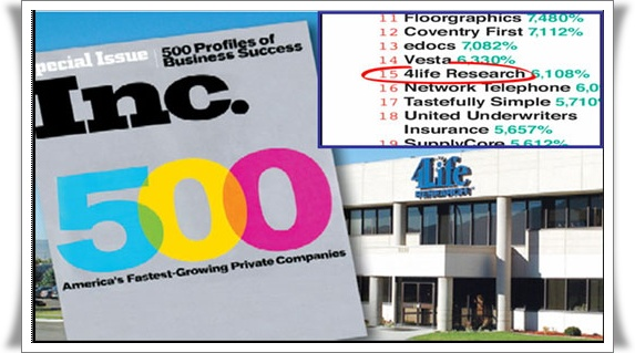 4Life Research อันดับ 15 Inc500
